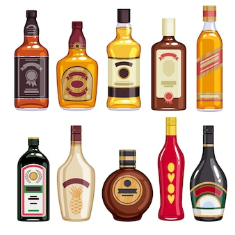Whisky and liquor bottles icons set.