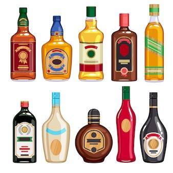 Whisky and liquor bottles icons set.