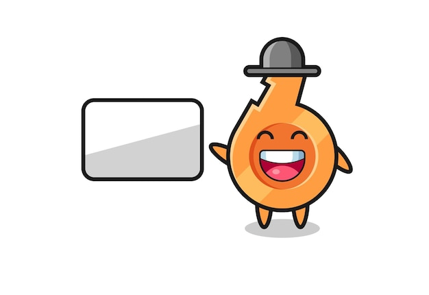 Whistle cartoon illustration doing a presentation , cute design