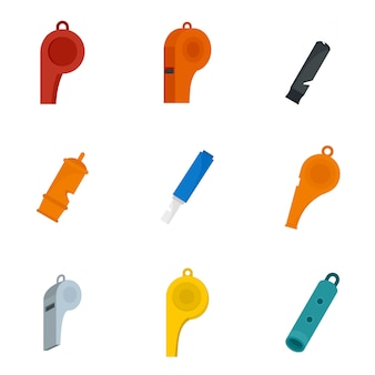 Whistle coaching blow icons set