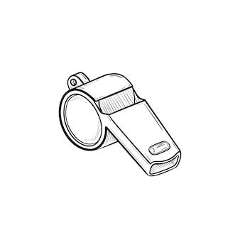 Свисток рисованной наброски каракули значок. соревнования, оборудование для футбольных игр, концепция свистка судьи и рефери