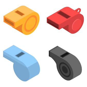 笛のアイコンを設定します。 webデザインの白い背景で隔離の笛ベクトルアイコンの等尺性セット