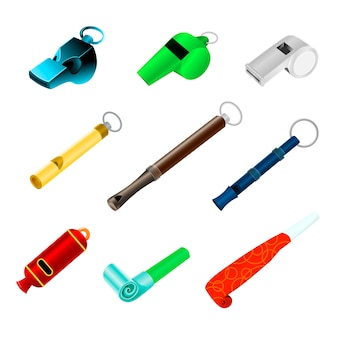 Whistle sport blowing equipment referee judge game and coach whistling sound tool illustration set of trainer whistle-blowing on competition isolated on white background