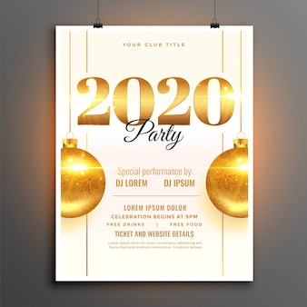 White 2020 new year party celebration  template