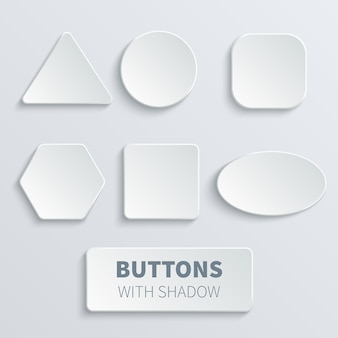 White 3d blank square and rounded button vector set. button round, badge interface for application illustration