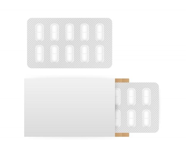 Белая блистерная упаковка 3d таблетки, изолированные на белом фоне.
