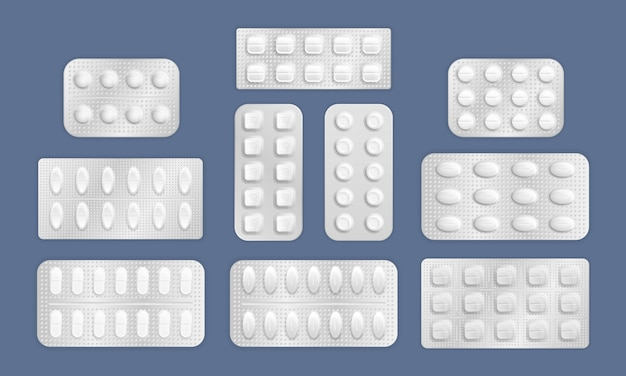 タブレットの白い3 dブリスターパック。病気や痛みを治療するためのパッキングの現実的な錠剤。現実的な薬抗生物質のパッキング。薬の錠剤とカプセルパック、白い3 d薬とビタミン。 。