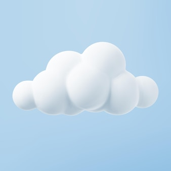 White 3d cloud isolated on a blue background. render soft round cartoon fluffy cloud icon in the blue sky. 3d geometric shape vector illustration.