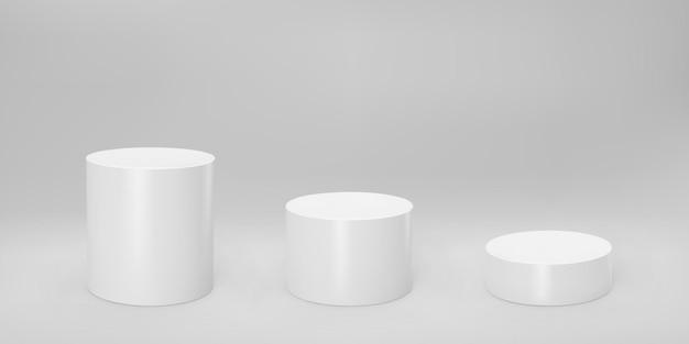 회색 배경에 격리된 원근감이 있는 흰색 3d 실린더 전면 보기 및 수준. 실린더 기둥, 빈 박물관 무대, 받침대 또는 제품 연단. 3d 기본 기하학적 모양 벡터 일러스트 레이 션.