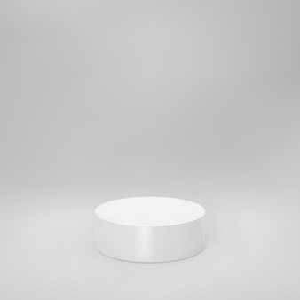 White 3d cylinder front view with perspective isolated on grey background. cylinder pillar, empty museum stage, pedestal or product podium. 3d basic geometric shape vector illustration.