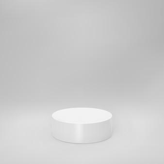 회색 배경에 격리된 원근감이 있는 흰색 3d 실린더 전면 보기. 실린더 기둥, 빈 박물관 무대, 받침대 또는 제품 연단. 3d 기본 기하학적 모양 벡터 일러스트 레이 션.