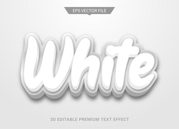 白の3d編集可能なテキストスタイル効果プレミアムベクトル