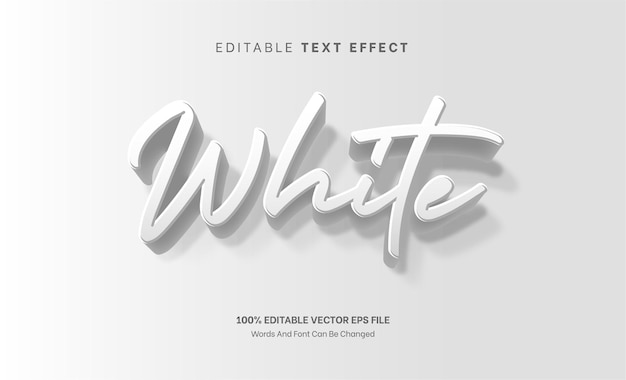 White 3d embossed text effect editable text effect