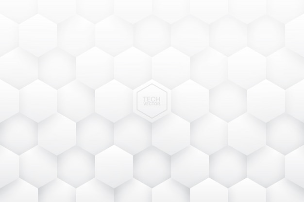 White 3d hexagons abstract background