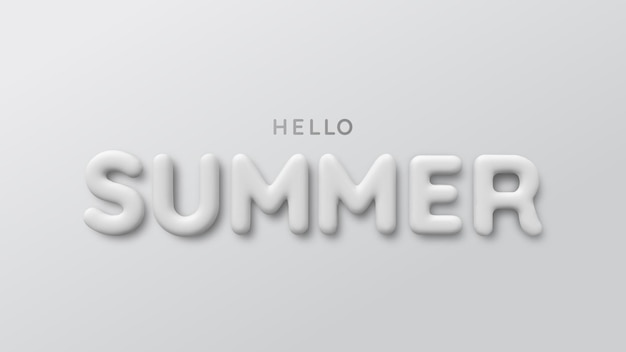 Белая 3d надпись летом. привет лето.
