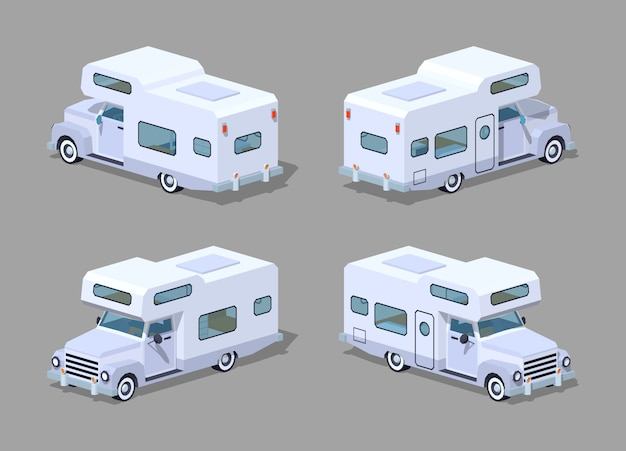 White 3d isometric motor home