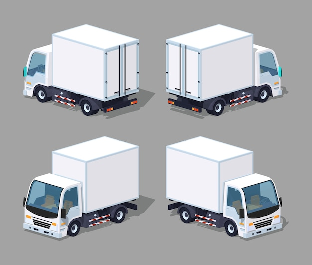 White 3d lowpoly isometric cargo truck