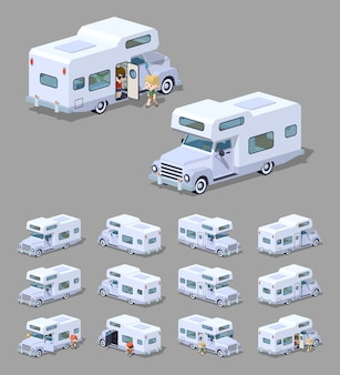White 3d lowpoly isometric rv camper