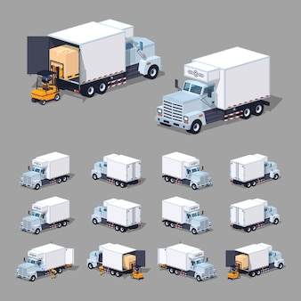 White 3d lowpoly isometric truck refrigerator