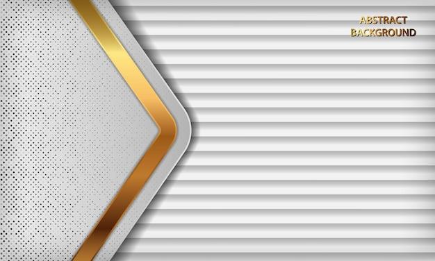 Белый 3d роскошный фон с золотыми линиями