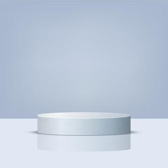 円筒形の白い3d大理石の表彰台
