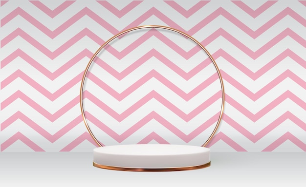 White 3d pedestal background with golden glass ring frame abd pink wave for cosmetic product presentation fashion magazine
