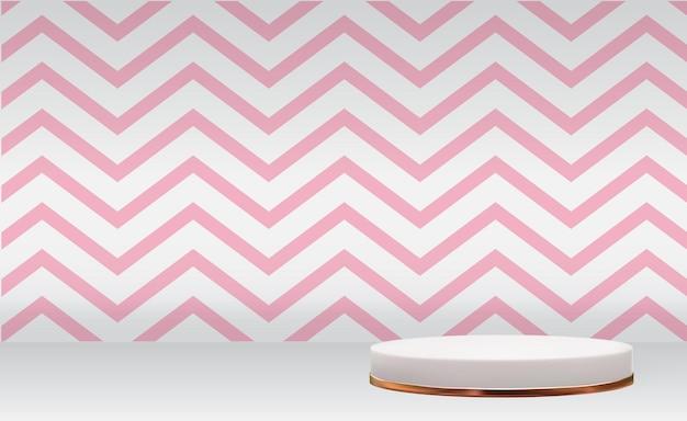 化粧品のプレゼンテーションファッション雑誌のための黄金のガラスリングフレームとピンクの波と白い3d台座の背景