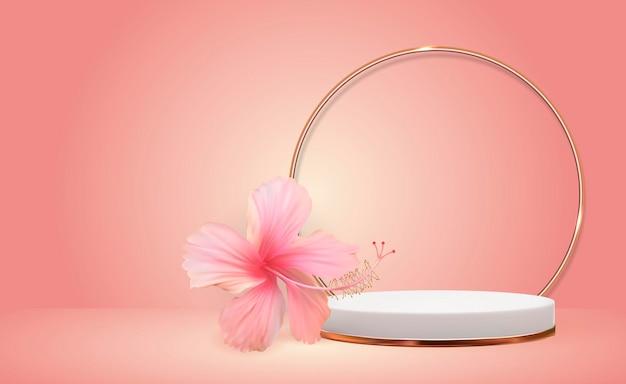 Белый фон 3d пьедестал с рамкой золотого стеклянного кольца и цветком гибискуса