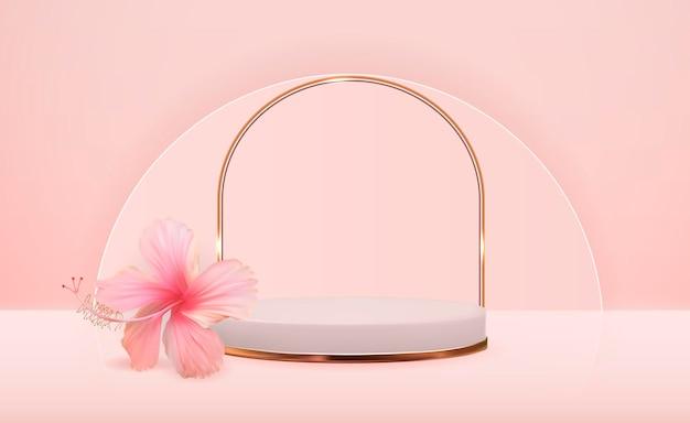 化粧品プレゼンテーションファッション雑誌のハイビスカスの花と白い3d台座の背景