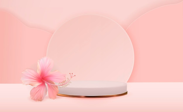 Белый 3d постамент фон с цветком гибискуса