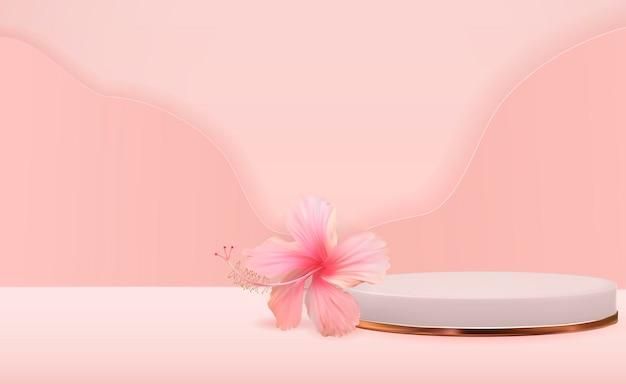 ハイビスカスの花と白い3d台座の背景