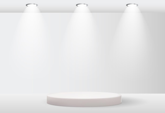 White 3d pedestal background with lighting lamp for cosmetic product presentation fashion magazine copy space