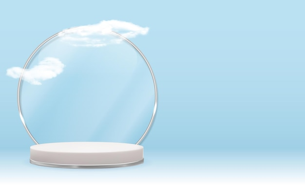 シルバーガラスリングフレーム、リアルな雲と白い3d台座。