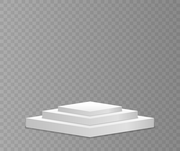 White 3d podium in different shapes
