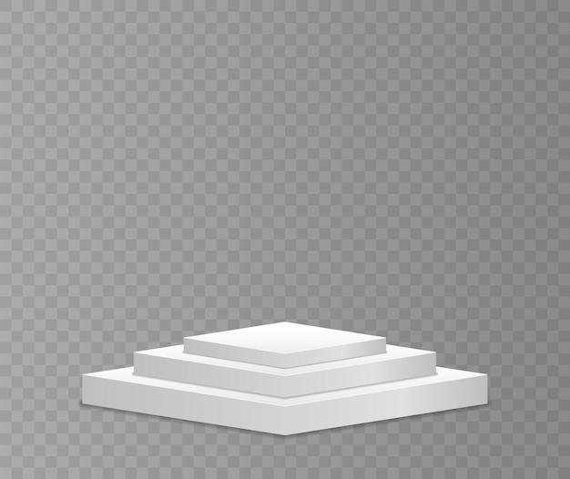 さまざまな形の白い3d表彰台