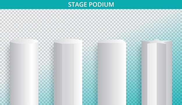 White 3d podium mockup in different shapes
