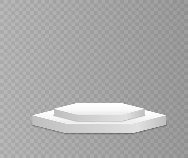 さまざまな形の白い3d表彰台モックアップ