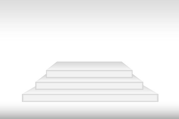 White 3d podium mockup in square shape. empty stage or pedestal mockup isolated on white background. podium or platform for award ceremony and product presentation. vector