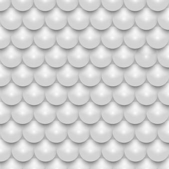White 3d shiny realistic pearl mosaic seamless pattern