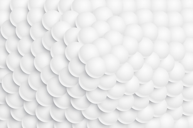 White 3d sphere balls stacked in a mountain form