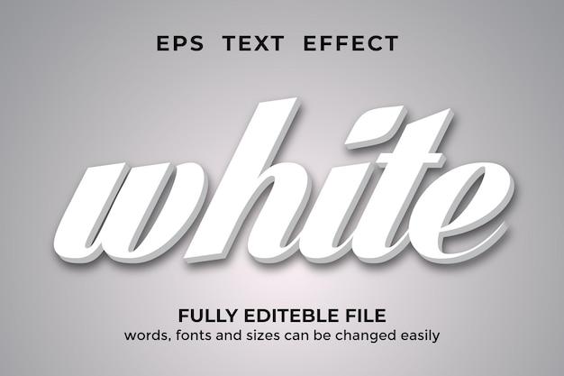 흰색 3d 스타일 편집 가능한 텍스트 효과 프리미엄 벡터