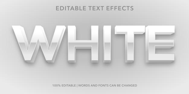 흰색 3d 스타일 편집 가능한 텍스트 효과