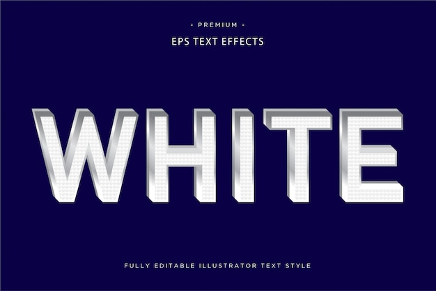 White 3d text effect  3d text style