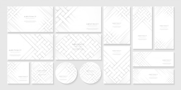 White abstract business template set background