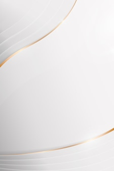 White abstract gold rim curved background