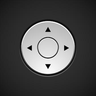 暗い背景に矢印の付いた白い抽象的なジョイスティックボタンテンプレート