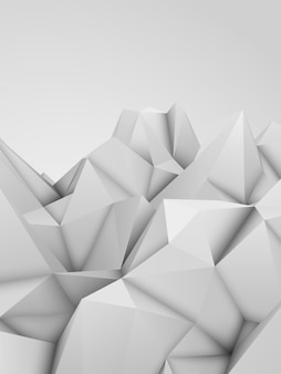White abstract low-poly, polygonal triangular mosaic elevation background