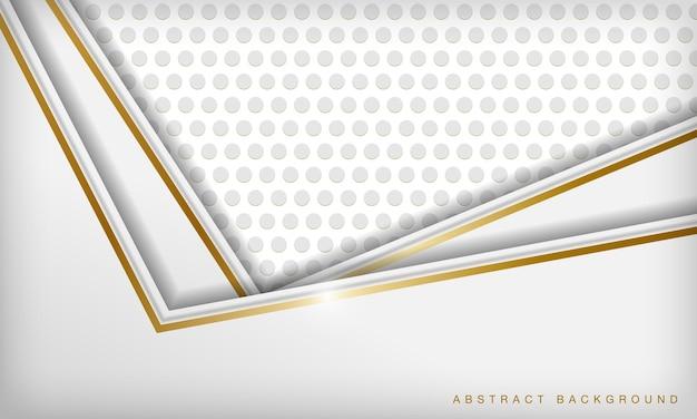 金色の線と円パターンの白い抽象的な豪華な次元の背景
