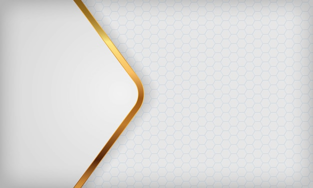 White abstract overlap background with golden lines.