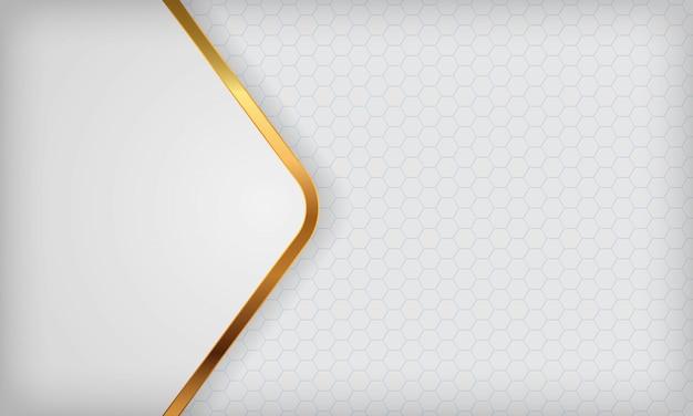 白の抽象的な背景に金色の線が重なっています。